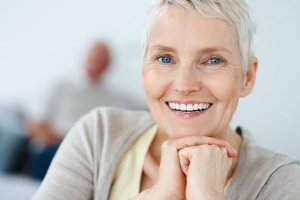 old lady with great dental implants